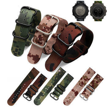 Correas de nailon de alta resistencia para hombres y mujeres, correa de nailon de 24mm, Correa NATO zulu, 5 anillos de hebilla, verde militar, naranja para Suunto cierre de plata