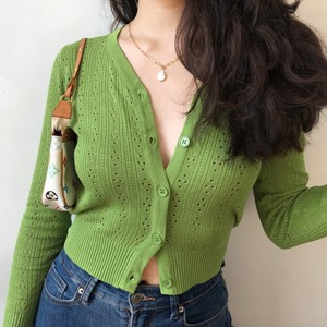 Women Button Through Crop Pointelle Knit Cardigan Open Stitch Knit Cardigans(China)