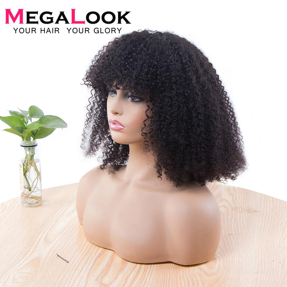 28 Inch Machine Wigs For Women Human Hair Brazilian Hair Wigs With Bangs 180 Density Megalook Remy Hair Natural Jerry Curly