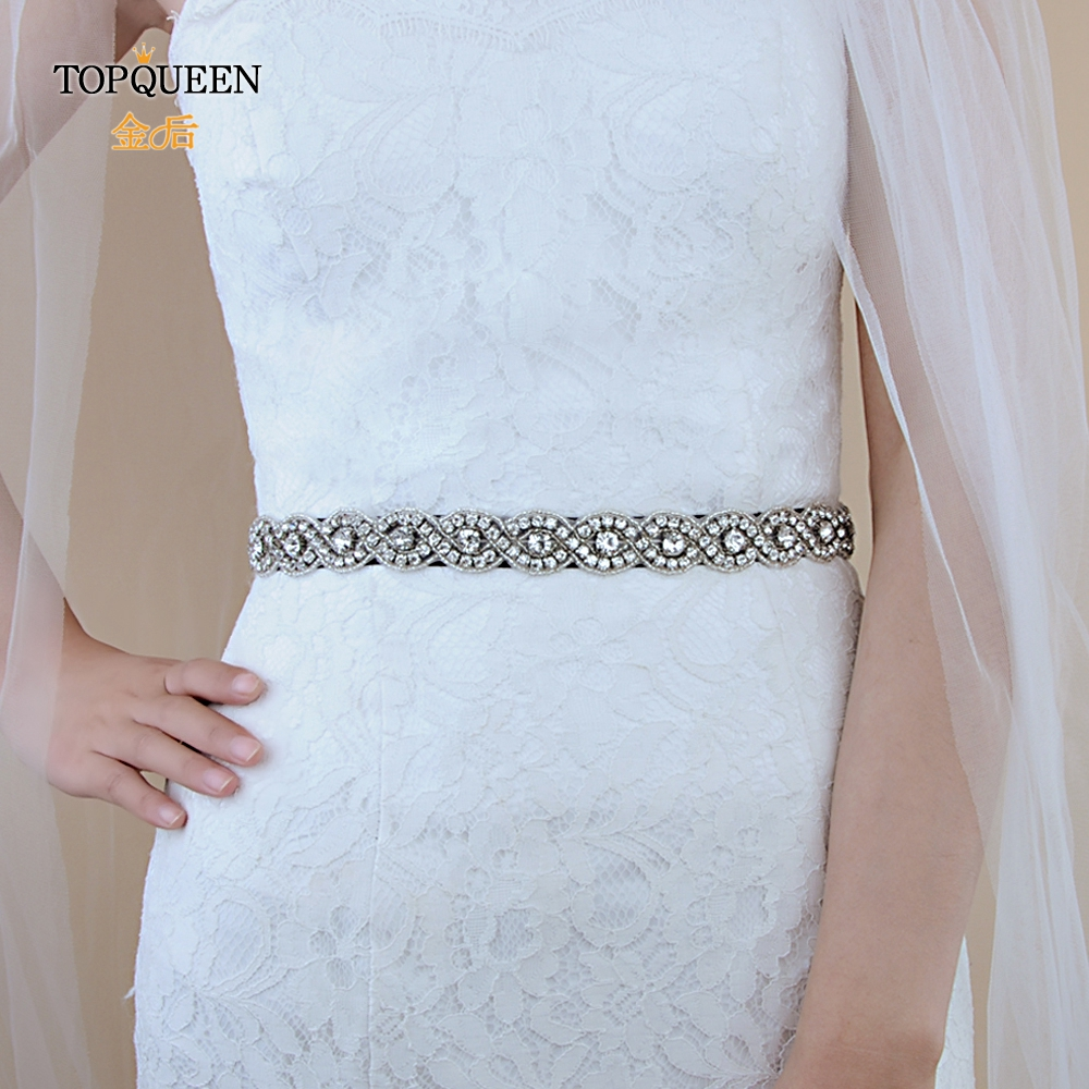 TOPQUEEN S28 Black Beaded Belt Black Ribbon Sash With Rhinestones Belts For Formal Dresses Diamond Belt Red Ivory Wedding Sash