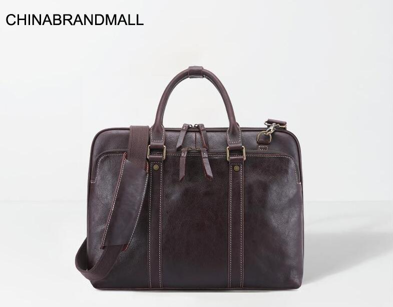 Genuine Leather Men Fashion Large Capacity Business Briefcase Office Bags