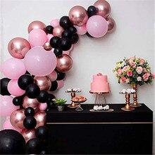 86 шт. цвета: черный, розовый, воздушные шары гирлянда арочный комплект розовое золото металлические шары на день рождения вечерние свадебны...