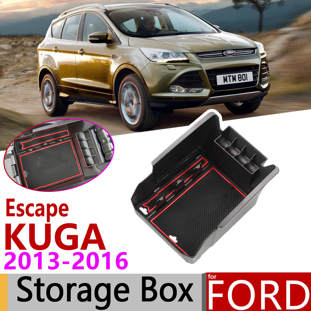 For Ford KUGA MK2 Ford Escape MK3 Pre-facelift 2013~2016 Of Armrest Box Storage Stowing Car Organizer Accessories 2014 2015