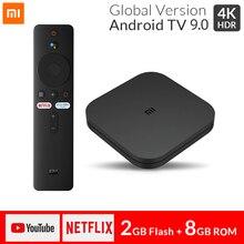 Original global xiaomi mi caixa de tv s inteligente 4k ultra hd 2g 8g android 9.0 wifi google elenco netflix media player conjunto caixa superior 4