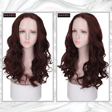 MANWEI Synthetic lace burgundy wavy curly hair sexy party wool volume small wavy curly hair(China)