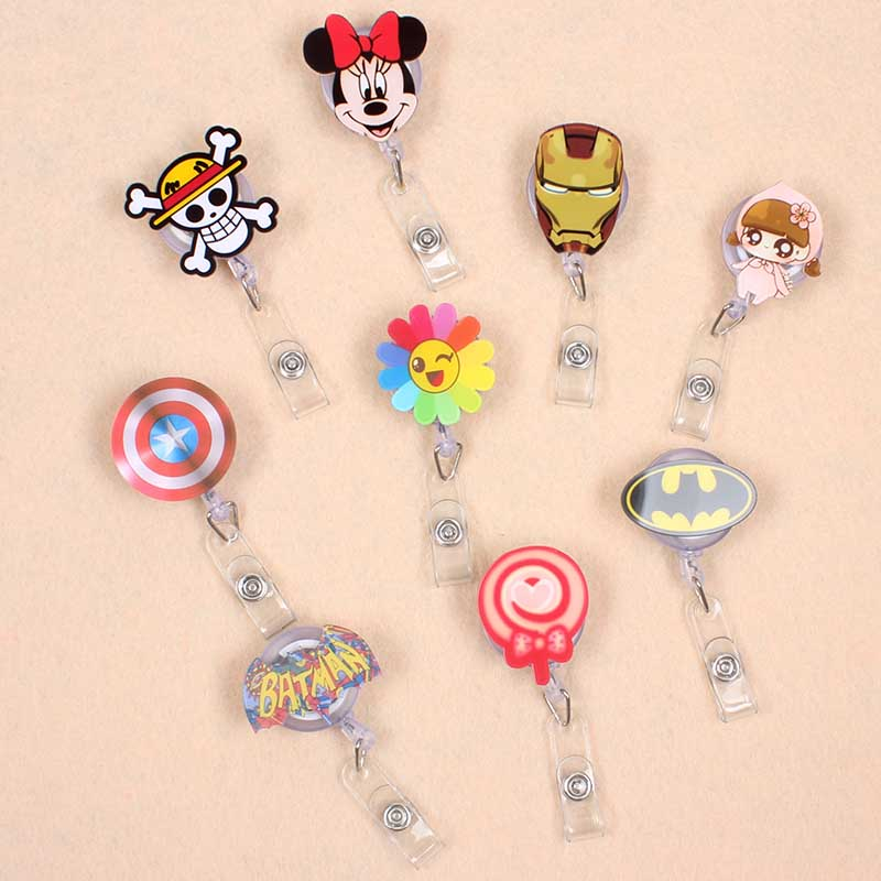 Cartoon Iroman & Batman Acrylic Retractable Badge Reel Nurse Doctor Student Exhibition ID Card Clips Badge Holder Stationery