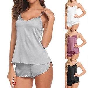 2020 Spring Summer Two Piece Pajamas Set Sexy Silk Satin Top And Shorts Pyjamas Female Sleep Two Piece Set Loungewear Plus Size