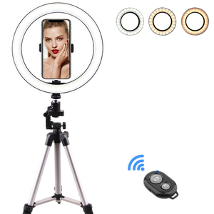 10-дюймовый кольцевой светильник со стоячим светодиодным кольцом для селфи-камеры для iPhone, штатива и держателя телефона для видеосъемки