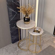 Table-End-Table Side-Table-Corner Marble Round Small Black Sofa Golden Frame Combination