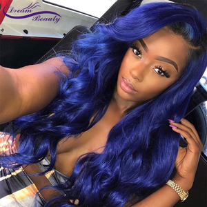 Image 2 - Blue Wig Human Hair Wig Blue Colored Wavy Lace Front Wig Pre Plucked With Baby Hair Glueless Lace Front Wigs