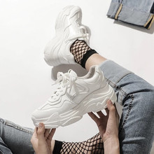 White Mesh Women Sneakers Fashion Thick Bottom Womens Platform Sneakers Casual Shoes