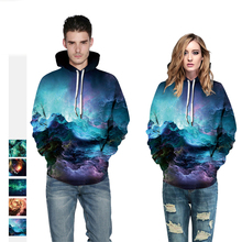 New Fashion Starry sky Digital Printing Sweatshirt Lovers Wear Loose Casual Fitness Sports Hooded Track 2019