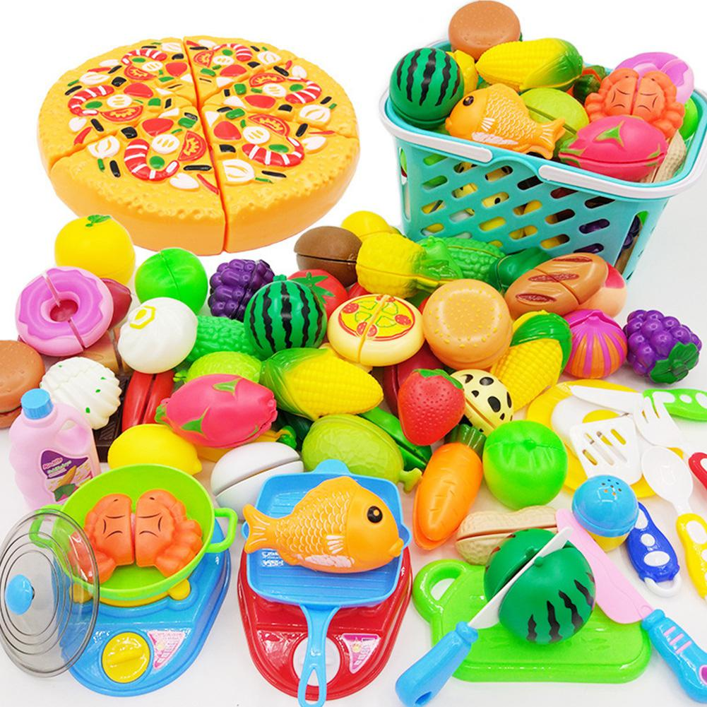 RCtown Cutting Toys Play Cutting Food Kitchen Toy Cutting Fruits Vegetables Pretend Food Playset Early Learning Toy Gifts