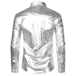 Image 2 - Metallic Silver Mens Stage Shirts Brand Embellished Sequins Shirt Men Social Camisa Masculina Disco Club Costume Chemise Homme