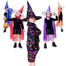 Crianças traje de halloween bruxa feiticeiro capa capa topo pontudo chapéu conjunto cosplay festa magia varinhas meninas meninos mágico roupa