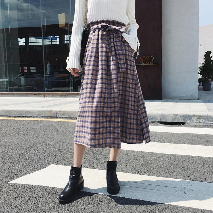 2019 Autumn And Winter New Style Straight-Cut Sanding Plaid Skirt Bow Belt Slit Longuette