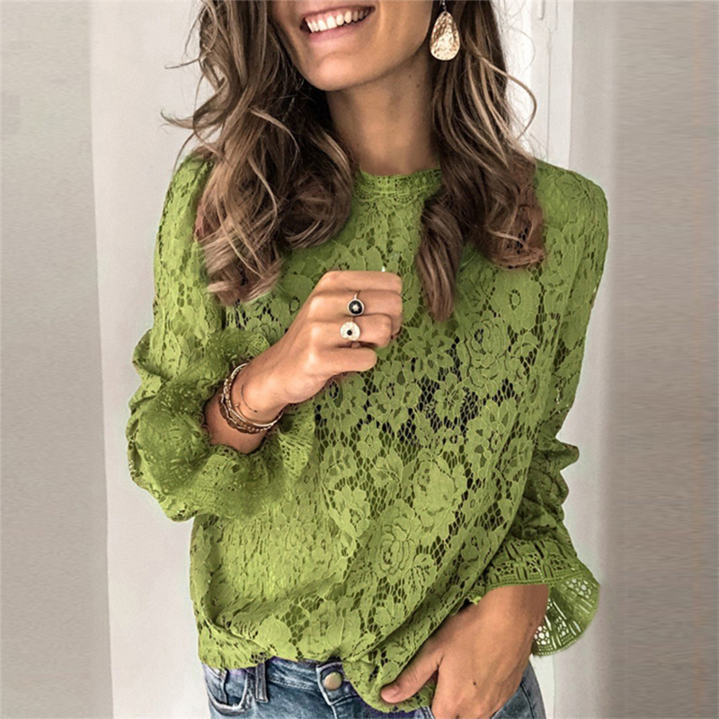 Spring Summer O-Neck Floral Lace Shirt Female Elegant Flare Long Sleeve Blouse Shirts Sexy Women Hollow Out Mesh Blusa Tops XXXL