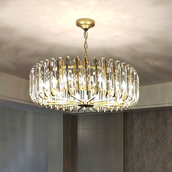 Nowoczesne  minimalistyczne kryształowy żyrandol do salonu jadalnia sypialnia willa dekoracji lampy okrągłe amerykańska LED lampy kryształowe