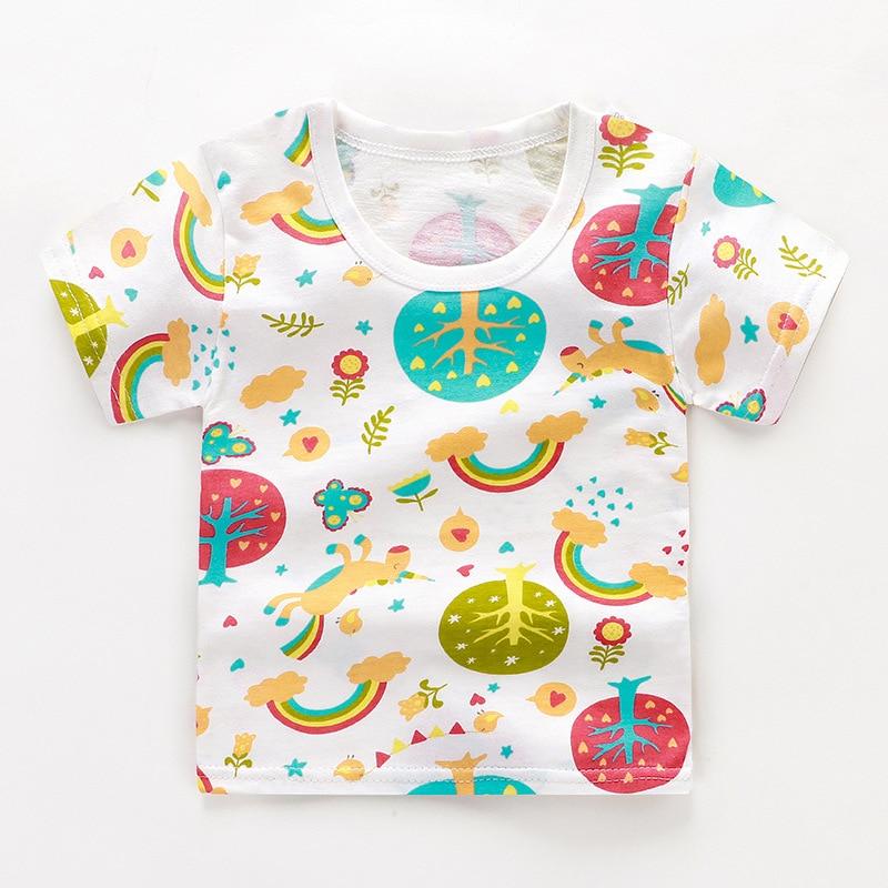 От 2 до 6 лет Детская одежда унисекс летняя футболка с короткими рукавами и круглым вырезом для мальчиков детская хлопковая одежда для девочек Детская футболка Короткие футболки в полоску - Цвет: 01