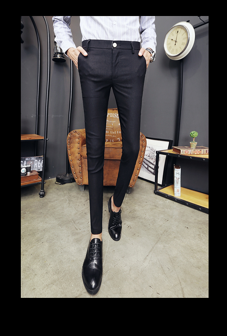 2020 New Pantalon Homme Korean Fashion Solid Pants Men Slim Fit Casual Elastic Streetwear Suit Pant Long Trousers Men Clothing 14