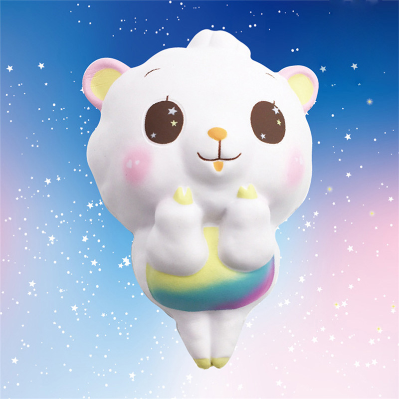 New 14.5CM Squishy Big Sheep Head Squeeze Kawaii Slow Rising Toy Children Gifts Phone Straps Hand Toys Keychain Decompression