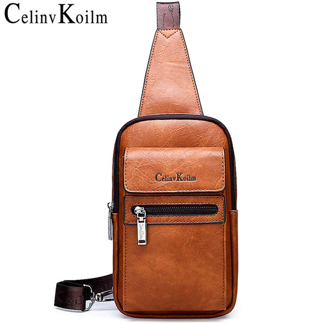 Celinv Koilm High Quality Men Chest Bags Split Leather Large Size Crossbody Bag Daypacks For Young Man Brand Sling Bags Unisex