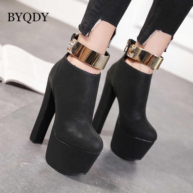 BYQDY Punk Women Chunky High Heels