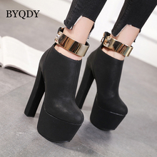 BYQDY Punk Women Chunky High Heels Platform Boots Military Metal Decoration Soft Ankle Boot Autumn Winter Shoes Slip On