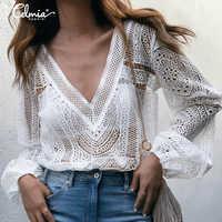 2019 Celmia Sexy Weiß Aushöhlen Bluse Frauen Spitze Streetwear Hemd Casual V-ausschnitt Lange Hülse Sehen Durch Blusas Plus größe Tops