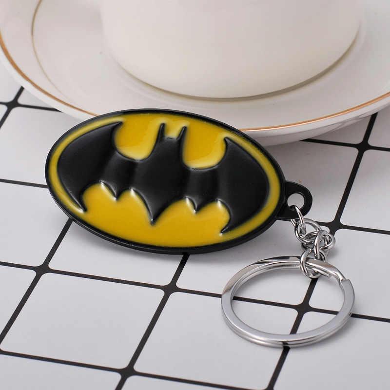 Nova dc comics super-herói batman logotipo chaveiro liga da justiça preto morcego amarelo redondo chaveiro masculino mulher fãs acessórios do carro