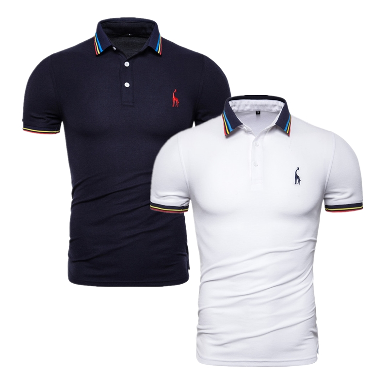 2020 Brand Quality 2 Pieces /Lot Polos Men Solid Slim Fit Deer Embroidery Polo Shirt Men Casual Business Polo Giraffe Mens Tops