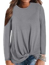 Women Tops Autumn Casual T-shirts Long Sleeve Cute Knot Waffle Knit T Shirts streetwear haut femme T-Shirt 2019 Hot sale