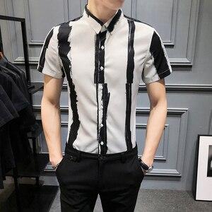 Image 2 - Chemise rayée pour hommes, chemise dété à manches courtes pour hommes, tenue Slim pour tout, boîte de nuit, smoking 3XL, à la mode 2020