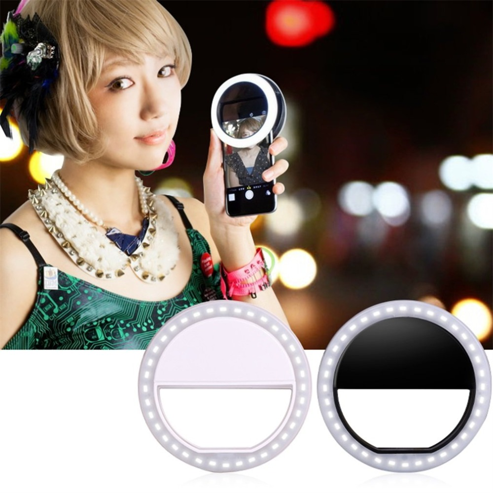 Selfie Led Ring Flash Light Draagbare Telefoon Selfie Lamp Lichtgevende Clip Lamp Camera Fotografie Video Spotlight Lens Luz Para Movil