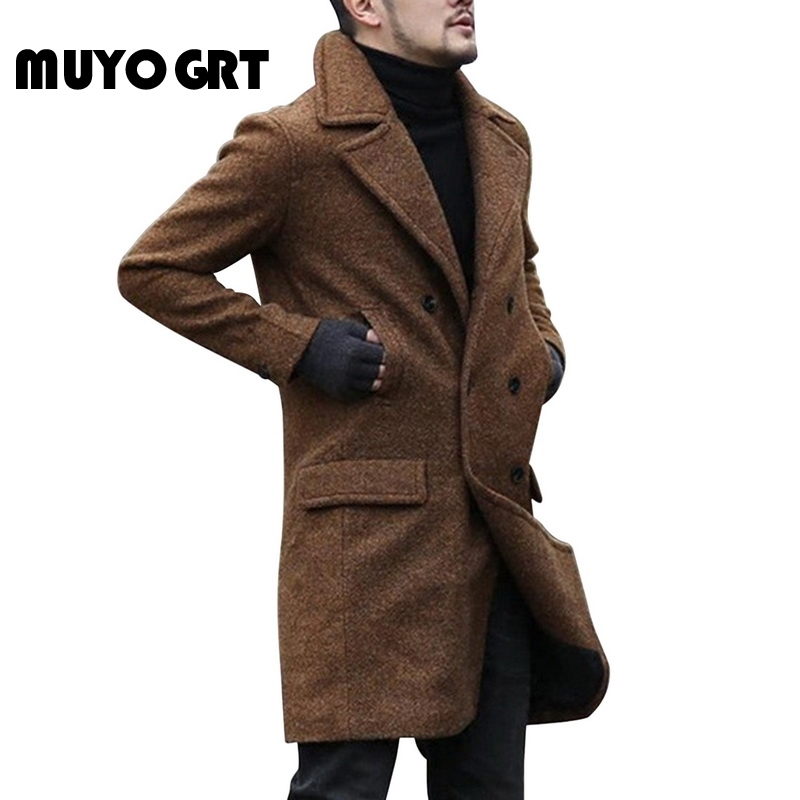 MUYOGRT 2020 New Winter Woolen Coat Men Leisure Long Sections Coats Mens Pure Color Casual Fashion Jackets Casual Men Overcoat
