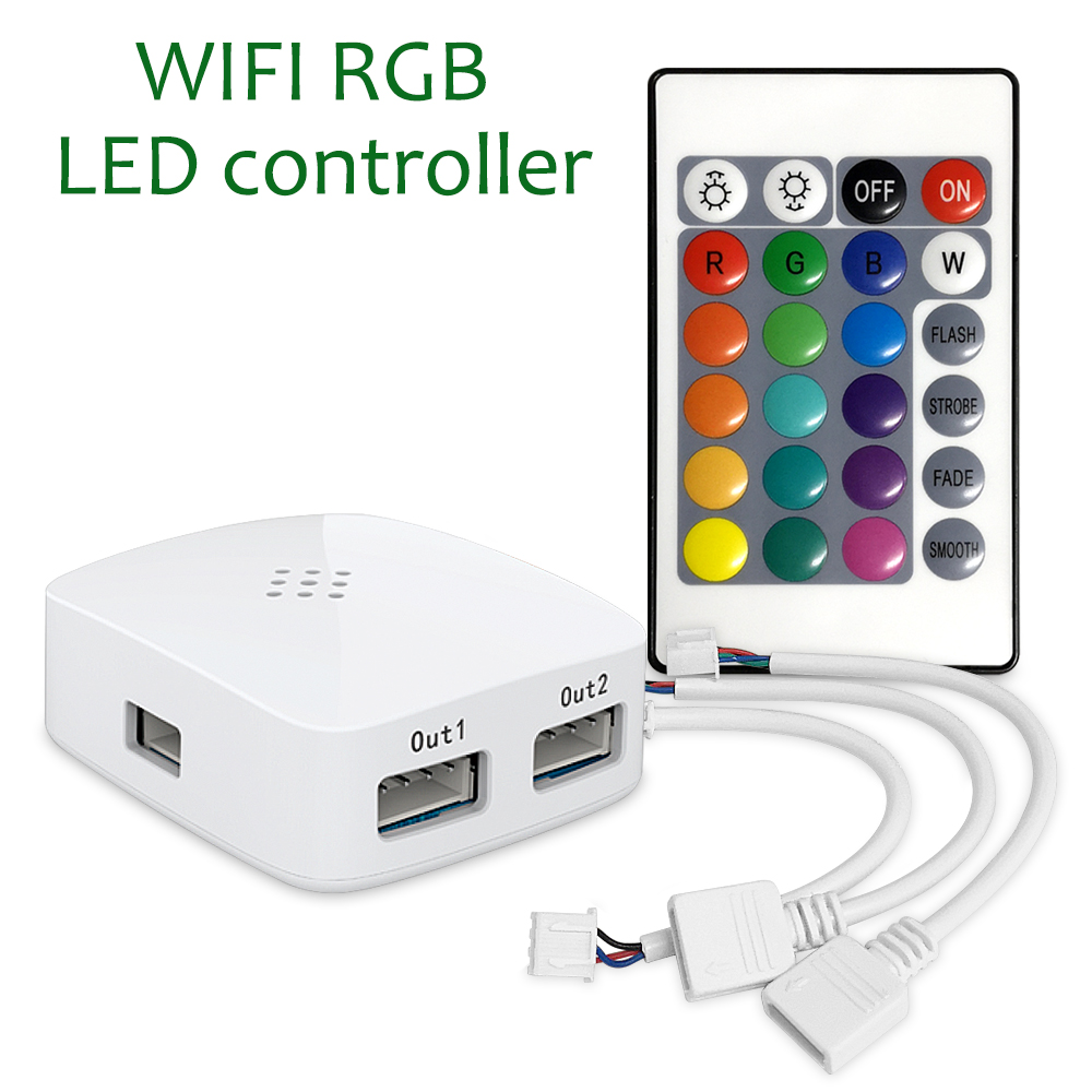 Updated Version 2-Port RGB LED Strip Light Mini Smart WiFi APP Magic Home Remote Controller for Amazon Alexa Google Home