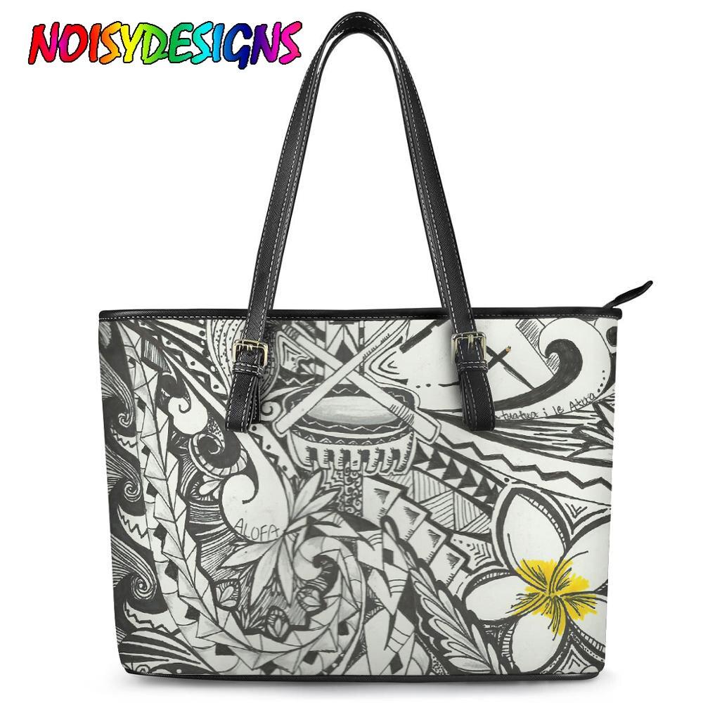 NOISYDESIGNS Polynesian Traditional Design Leather Female Bags Casual Flower Print Shoulder Bags Ladies Beach HandbagTotes