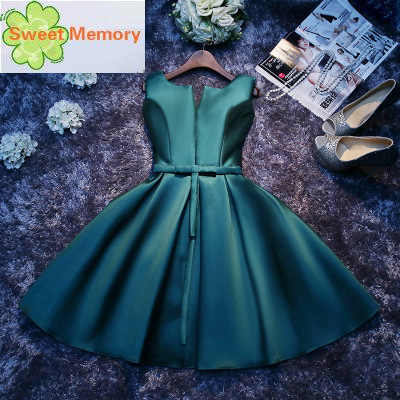 Vestido Corto De Fiesta De Satén Para Mujer Vestido Formal De Dama De Honor Verde Sw1965