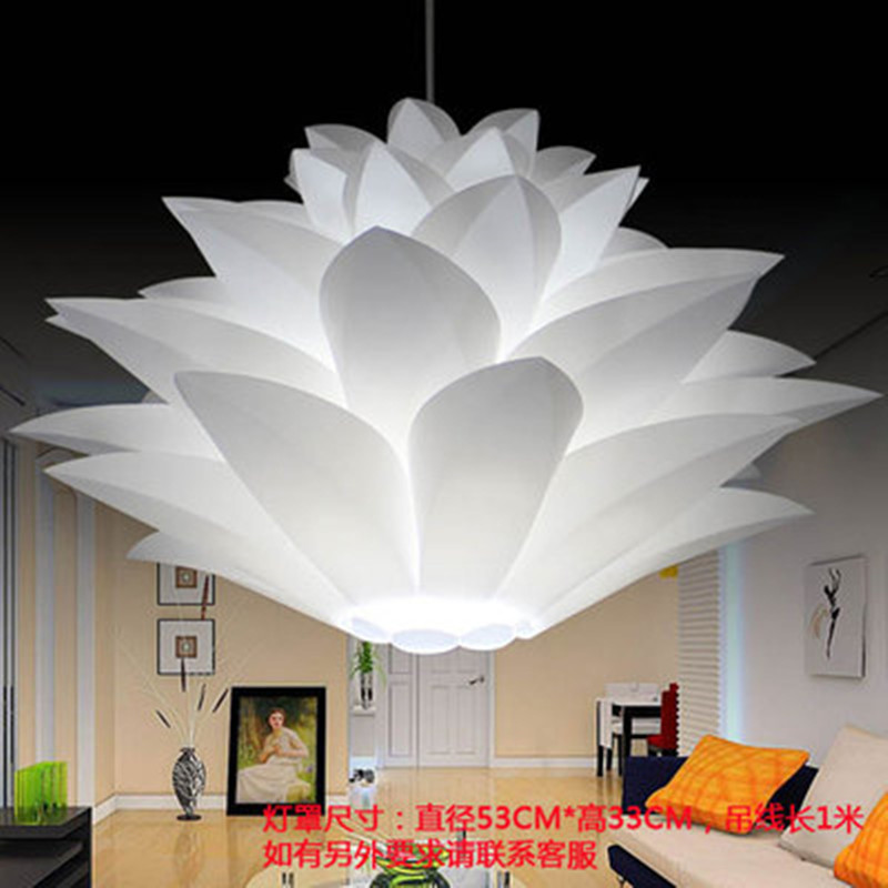 Lowest Price On Sale DIY Modern Pinecone Pendant Light Creative Lily Lotus Novel Led E27 35/45/55cm Iq Puzzle Lamp White