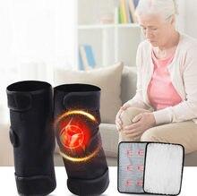 Joelheiras de turmalina para terapia magnética, um par de joelheiras para terapia magnética com turmalina, para dor de artrite na patela do joelho