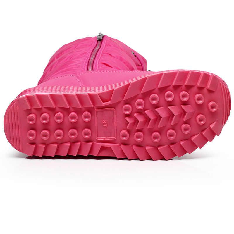 Kadın kar botları platformu kış çizmeler kalın peluş su geçirmez olmayan-kayma çizmeler moda kadınlar kış ayakkabı sıcak kürk botas mujer