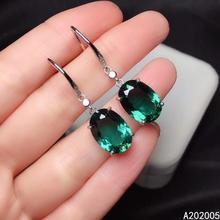KJJEAXCMY Fine Jewelry 925 sterling silver inlaid Green crystal female earrings Eardrop luxury hot selling