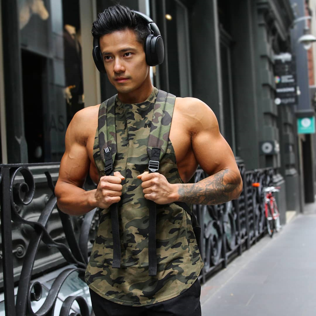 The New Summer Vest Men's Sports Fitness Jacket Running Training Camouflage Quick Dry Vest