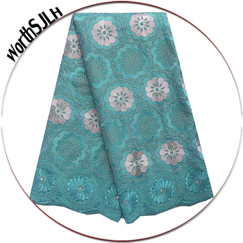 Dubai High Quality Swiss Lace Material Aqua Green Latest African Fabric Lace Cotton Swiss Voile Lace Fabric 2019 With Stones