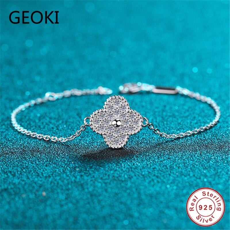 Geoki прошел Diamond тесты 0,42 CT идеальный крой Муассанит клевер браслет 925 стерлингового серебра D Цвет бриллиантовые браслеты ювелирные изделия