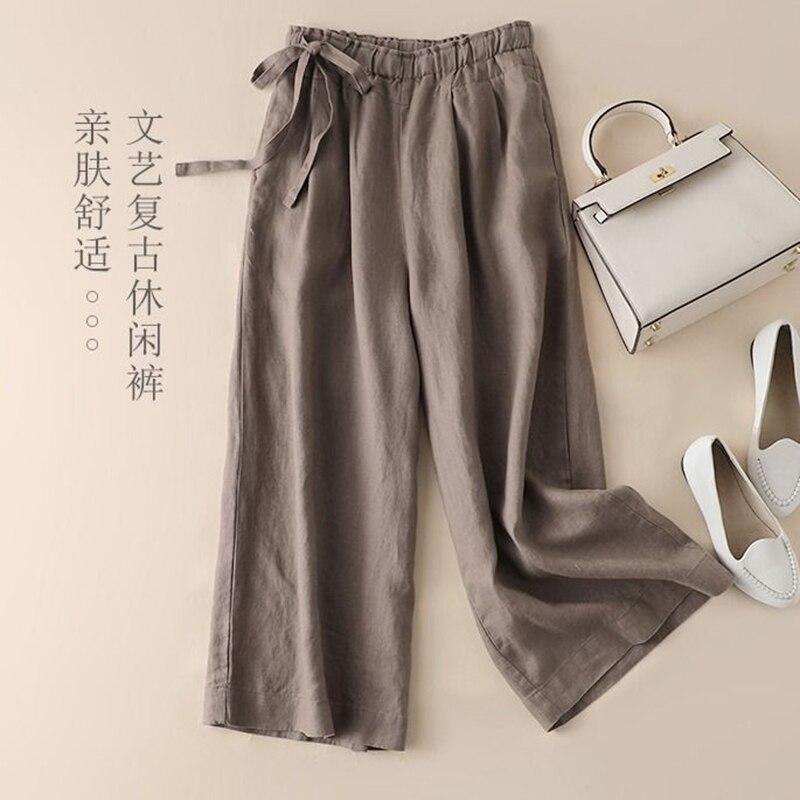New Arrival Summer Arts Style Women High Waist Flank Lacing Wide Leg Pants Vintage Cotton Linen Ankle-length Loose Pants S857