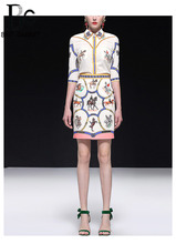 Baogarret 2019 Fashion Designer Summer Skirt Suit Womens luxury Beading Diamond Vintage Print White Two Piece Set Female