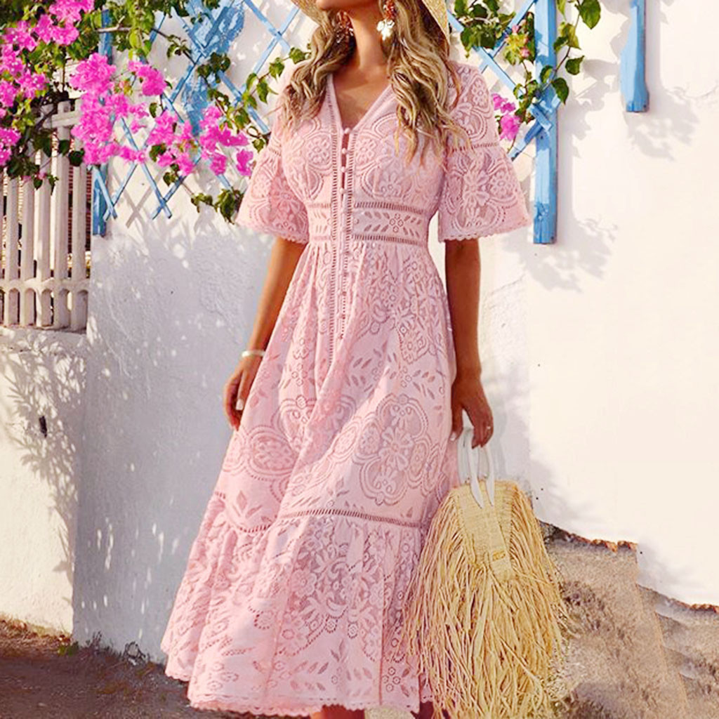 Summer New Fashion Women's V-Neck Short-Sleeved Openwork Single-Breasted Ruffle Lace Waist Long Dress Free Ship платье Z4