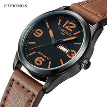 Men's Fashion Causal Calendar Wristwatch Top Brand Waterproof Classic Brown Black Leather W