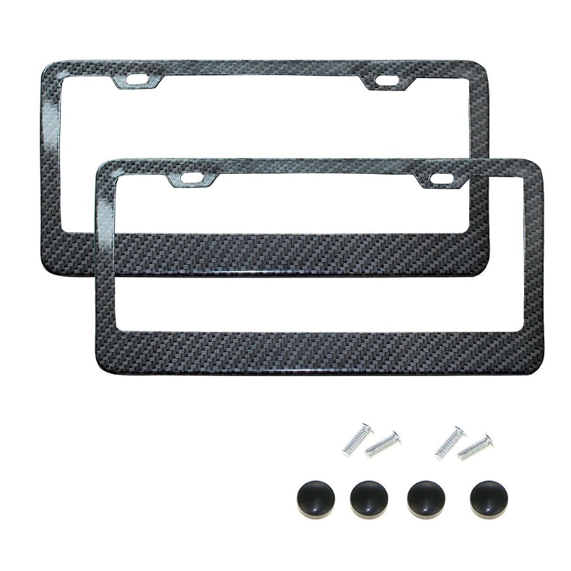License Plate Frame Black Carbon Fiber / Transparent Number Plate TAG Protector Cover for Front Rear Bracket Car Accessories